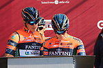 Nippo-Vini Fantini-EUR.OV. at sign on before the start of Strade Bianche 2019 running 184km from Siena to Siena, held over the white gravel roads of Tuscany, Italy. 9th March 2019.<br /> Picture: Seamus Yore   Cyclefile<br /> <br /> <br /> All photos usage must carry mandatory copyright credit (© Cyclefile   Seamus Yore)