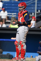State College Spikes catcher Luis Cruz (4) during a game against the Batavia Muckdogs on June 22, 2014 at Dwyer Stadium in Batavia, New York.  State College defeated Batavia 10-3.  (Mike Janes/Four Seam Images)