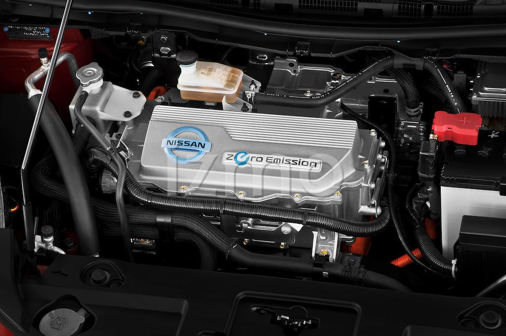 High angle engine detail of a 2011 Nissan Leaf SL  .