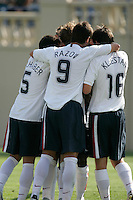 Benny Feilhaber, Ante Razov and Sacha Kljestan celebrate. USA defeated China, 4-1, at Spartan Stadium in San Jose, Calif., on June 2, 2007.