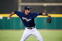 Lakeland Flying Tigers third baseman Zac Shepherd (4) throws to first base during a game against the Jupiter Hammerheads on April 17, 2017 at Joker Marchant Stadium in Lakeland, Florida.  Lakeland defeated Jupiter 5-1.  (Mike Janes/Four Seam Images)