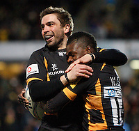Photo: Richard Lane/Richard Lane Photography. London Wasps v Leinster Rugby. Amlin Challenge Cup Quarter Final. 05/04/2013. Wasps' Christian Wade celebrates his try with Nick Robinson.