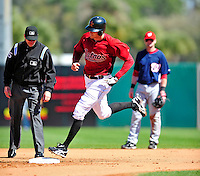 4 March 2010: Houston Astros right fielder Hunter Pence rounds the bases after hitting a solo home run during the Astros' Grapefruit League Opening Day game against a Washington Nationals' split squad at Osceola County Stadium in Kissimmee, Florida. The Astros defeated the Nationals 15-5 in Spring Training action. Mandatory Credit: Ed Wolfstein Photo