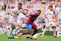 29th August 2021; Nou Camp, Barcelona, Spain; La Liga football league, FC Barcelona versus Getafe; Memphis Depay holds off the challenge