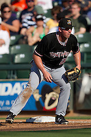 Albuquerque Isotopes first baseman Josh Fields #22 on defense during the Pacific Coast League baseball game against the Round Rock Express on June 2, 2012 at the Dell Diamond in Round Rock, Texas. The Express beat the Isotopes 3-2. (Andrew Woolley/Four Seam Images).