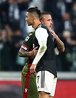 Calcio, Serie A: Juventus - Cagliari, Turin, Allianz Stadium, January 6, 2020.<br /> Juventus' Cristiano Ronaldo (r) greets Cagliari's captain Radja Nainggolan (l) at the end of the Italian Serie A football match between Juventus and Cagliari at Torino's Allianz stadium, on January 6, 2020.<br /> UPDATE IMAGES PRESS/Isabella Bonotto