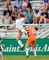 St Louis Athletica Elise Weber (12) goes up for a ball over Sky Blue FC  midfielder Collette McCallum (14) during a WPS match at Anheuser-Busch Soccer Park, in St. Louis, MO, June 7, 2009. Athletica won the match 1-0.