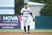 Kannapolis Intimidators second baseman Nick Madrigal (10) warms-up between innings of the game against the Hagerstown Suns at Kannapolis Intimidators Stadium on July 17, 2018 in Kannapolis, North Carolina. The Intimidators defeated the Suns 10-9. (Brian Westerholt/Four Seam Images)