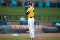 UNCG Spartans relief pitcher Phillip Sanderson (9) looks to his catcher for the sign against the San Diego State Aztecs at Springs Brooks Stadium on February 16, 2020 in Conway, South Carolina. The Spartans defeated the Aztecs 11-4.  (Brian Westerholt/Four Seam Images)