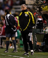 Columbus Crew manager Sigi Schmid looks on from the sideline during a MLS match. The Chivas USA defeated the Columbus Crew 2-0 at Home Depot Center stadium in Carson, Calif., on Saturday, May 31, 2008.