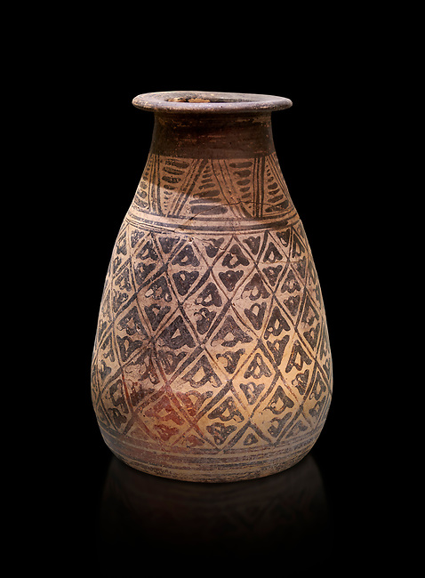 The Minoan decorated clay alabastron burial vessels with geometric design , Kamilari 1500-1300  BC; Heraklion Archaeological  Museum, black background