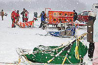 Junior Iditarod musher's sleds wait in line on Knik Lake just prior to the start of the 2009 Junior Iditarod on Knik Lake on Saturday Februrary 28, 2009.
