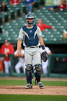 West Michigan Whitecaps catcher Drew Longley (14) during a game against the Peoria Chiefs on May 8, 2017 at Dozer Park in Peoria, Illinois.  West Michigan defeated Peoria 7-2.  (Mike Janes/Four Seam Images)