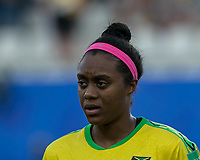 GRENOBLE, FRANCE - JUNE 18: Allyson Swaby #17 of the Jamaican National Team during a game between Jamaica and Australia at Stade des Alpes on June 18, 2019 in Grenoble, France.