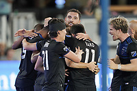 SAN JOSE, CA - SEPTEMBER 26: Jackson Yueill #14 of the San Jose Earthquakes celebrates scoring with teammates during a Major League Soccer (MLS) match between the San Jose Earthquakes and the Philadelphia Union on September 26, 2019 at Avaya Stadium in San Jose, California.