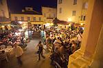 Calvi village square at night, Calvi, West Coast Corsica, Corsica, France, towns in Corsica, French coastal villages, Corsican coast,