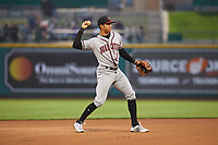 Quad Cities River Bandits shortstop Jeremy Pena (1) during a Midwest League game against the Fort Wayne TinCaps at Parkview Field on May 3, 2019 in Fort Wayne, Indiana. Quad Cities defeated Fort Wayne 4-3. (Zachary Lucy/Four Seam Images)