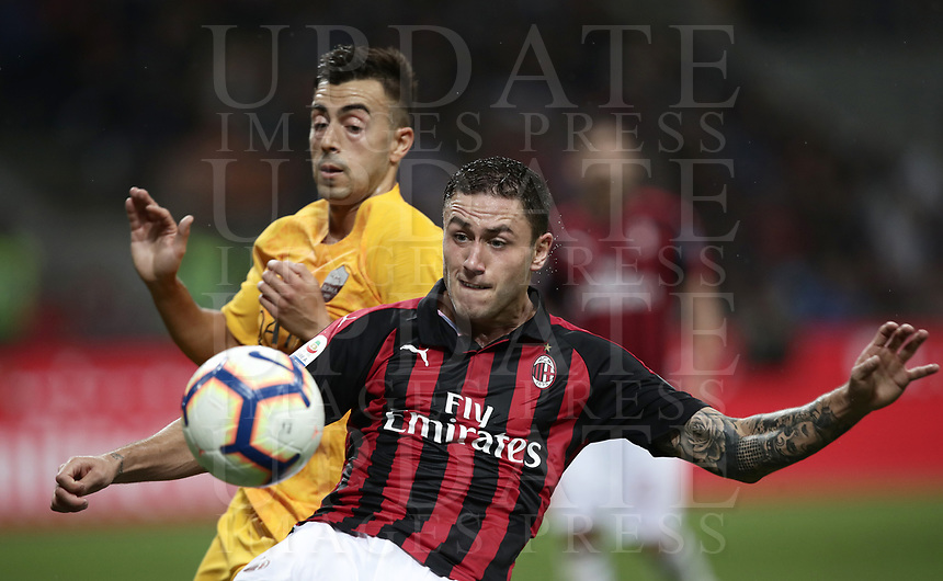 Calcio, Serie A: AC Milan - AS Roma, Milano stadio Giuseppe Meazza (San Siro) 31 agosto 2018. <br /> AC Milan's Davide Calabria (in front of) in action with AS Roma's Stephan El Shaarawy during the Italian Serie A football match between Milan and Roma at Giuseppe Meazza stadium, August 31, 2018. <br /> UPDATE IMAGES PRESS/Isabella Bonotto