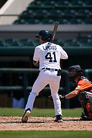 Detroit Tigers Andre Lipcius (41) bats during a Minor League Spring Training game against the Baltimore Orioles on April 14, 2021 at Joker Marchant Stadium in Lakeland, Florida.  (Mike Janes/Four Seam Images)
