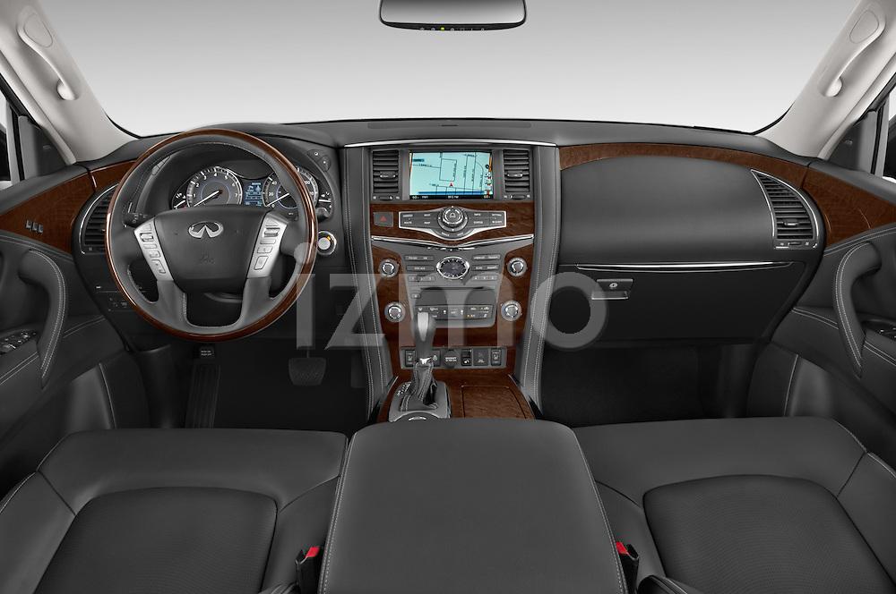 Stock photo of straight dashboard view of a 2017 Infiniti QX80 3.5 5 Door SUV Dashboard