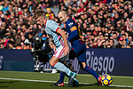 Andres Iniesta of FC Barcelona (R) in action against Pedro Pablo Hernandez of RC Celta de Vigo (L) during the La Liga 2017-18 match between FC Barcelona and RC Celta de Vigo at Camp Nou Stadium on 02 December 2017 in Barcelona, Spain. Photo by Vicens Gimenez / Power Sport Images