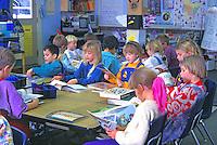 elementary school students studying, California