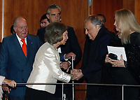 02-11-2018 Spain Spanish Emeritus Royal Couple Juan Carlos (L) and Sofia (2-L) greet Indian conductor Zubin Mehta (2-R) upon arrival a concert offered by the orchestra of Reina Sofia Music academy on the occasion of the 80th anniversary of Queen Sofia in Madrid, Spain<br /> <br /> .<br /> .