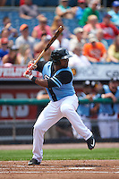 Syracuse Chiefs second baseman Chris Nelson (8) at bat during a game against the Pawtucket Red Sox on July 6, 2015 at NBT Bank Stadium in Syracuse, New York.  Syracuse defeated Pawtucket 3-2.  (Mike Janes/Four Seam Images)