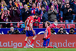 Antoine Griezmann of Atletico de Madrid (R) celebrates after scoring his goal with Diego Costa of Atletico de Madrid (L) during the La Liga 2017-18 match between Atletico de Madrid and RC Celta de Vigo at Wanda Metropolitano on March 11 2018 in Madrid, Spain. Photo by Diego Souto / Power Sport Images