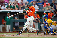 Miami Hurricanes shortstop Brandon Lopez (51) swings the bat against the UC Santa Barbara Gauchos in Game 5 of the NCAA College World Series on June 20, 2016 at TD Ameritrade Park in Omaha, Nebraska. UC Santa Barbara defeated Miami  5-3. (Andrew Woolley/Four Seam Images)