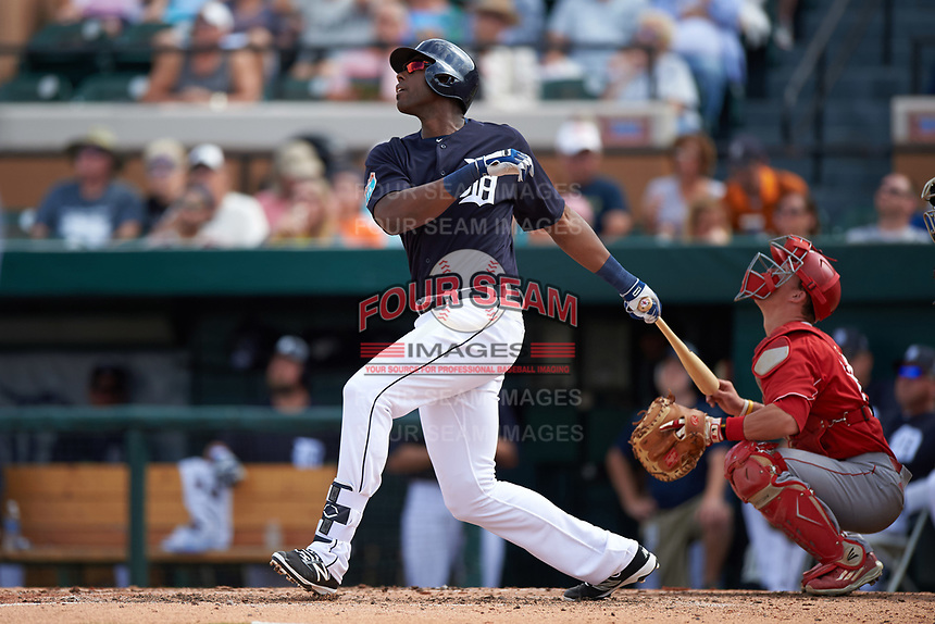 Detroit Tigers first baseman John Mayberry Jr. (64) at bat during an exhibition game against the Florida Southern Moccasins on February 29, 2016 at Joker Marchant Stadium in Lakeland, Florida.  Detroit defeated Florida Southern 7-2.  (Mike Janes/Four Seam Images)