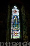 The restored stain glass windows in St Carthage Church Brosna.