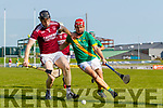 Muiris Delaney, Causeway in action against Sean Maunsell, Kilmoyley during the Kerry County Senior Hurling Championship Final match between Kilmoyley and Causeway at Austin Stack Park in Tralee