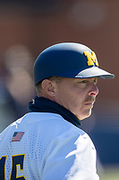 Michigan Wolverines assistant coach Brandon Inge (15) during the NCAA baseball game against the Illinois Fighting Illini on March 20, 2021 at Fisher Stadium in Ann Arbor, Michigan. Michigan won the game 8-1. (Andrew Woolley/Four Seam Images)