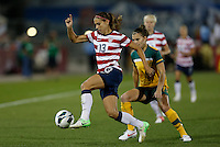 Commerce City, Colorado - Wednesday September 19, 2012; The US WNT defeated the National team of Australia 6-2 during an International friendly game at Dick's Sporting Goods Park.  Alex Morgan (13) races down the field.