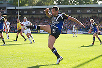 Olly Barkley of Bath Rugby clears his line during the Aviva Premiership match between Bath Rugby and Sale Sharks at the Recreation Ground on Saturday 29th September 2012 (Photo by Rob Munro)