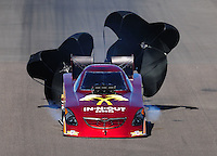 Oct. 16, 2011; Chandler, AZ, USA; NHRA funny car driver Melanie Troxel during the Arizona Nationals at Firebird International Raceway. Mandatory Credit: Mark J. Rebilas-
