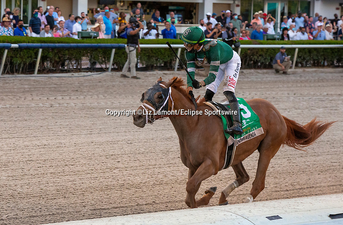 March 27, 2021: Known Agenda #5, ridden by jockey Irad Ortiz Jr., wins the Florida Derby (Grade 1), a Kentucky Derby prep race for trainer Todd Pletcher at Gulfstream Park in Hallandale Beach, Florida. Liz Lamont/Eclipse Sportswire/CSM