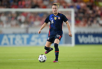 HOUSTON, TX - JUNE 13: Emily Sonnett #14 of the United States moves with the ball during a game between Jamaica and USWNT at BBVA Stadium on June 13, 2021 in Houston, Texas.