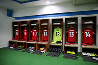 San Pedro Sula, Honduras. - Tuesday September 05, 2017: U.S. Men's national team locker room during a 2017 FIFA World Cup Qualifying (WCQ) round match between the men's national teams of the United States (USA) and Honduras (HON) at Estadio Olímpico Metropolitano.