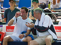 Moscow, Russia, 15 th July, 2016, Tennis,  Davis Cup Russia-Netherlands, Second rubber: The Russian bench with capitain Shamil Tarpichev and Teymuraz Gabashvili (RUS)<br /> Photo: Henk Koster/tennisimages.com