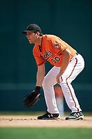 Baltimore Orioles first baseman Ryan Ripken (50) during an Instructional League game against the Atlanta Braves on September 25, 2017 at Ed Smith Stadium in Sarasota, Florida.  (Mike Janes/Four Seam Images)