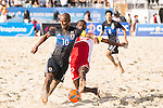 MOREIRA Ozu of Japan fights for the ball with BAIT AL NOOBI Hani Al Dhabat Faraj of Oman  during the Beach Soccer Men's Team Gold Medal Match between Japan and Oman on Day Nine of the 5th Asian Beach Games 2016 at Bien Dong Park on 02 October 2016, in Danang, Vietnam. Photo by Marcio Machado / Power Sport Images
