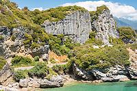 Limestone rock formations on picturesque coastline near Takaka in Golden Bay, Nelson Region, South Island, New Zealand