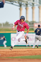 Pensacola Blue Wahoos Trevor Larnach (9) running the bases during a Southern League game against the Mobile BayBears on July 25, 2019 at Blue Wahoos Stadium in Pensacola, Florida.  Pensacola defeated Mobile 2-1 in the first game of a doubleheader.  (Mike Janes/Four Seam Images)