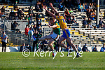 Tommy Walsh, Kerry, in action against Darragh Bohannan, Clare, during the Munster Football Championship game between Kerry and Clare at Fitzgerald Stadium, Killarney on Saturday.