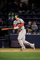 Pawtucket Red Sox third baseman Matt Dominguez (3) bats during a game against the Scranton/Wilkes-Barre RailRiders on May 15, 2017 at PNC Field in Moosic, Pennsylvania.  Scranton defeated Pawtucket 8-4.  (Mike Janes/Four Seam Images)
