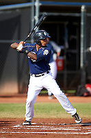 San Diego Padres minor league catcher Rodney Daal #43 during an instructional league game against the Seattle Mariners at the Peoria Sports Complex on October 6, 2012 in Peoria, Arizona.  (Mike Janes/Four Seam Images)