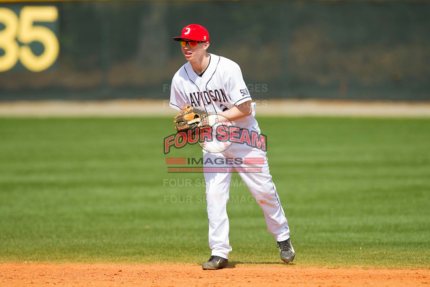 Davidson Wildcats second baseman Sam Foy (2) on defense against the Western Carolina Catamounts at Wilson Field on March 10, 2013 in Davidson, North Carolina.  The Catamounts defeated the Wildcats 5-2.  (Brian Westerholt/Four Seam Images)
