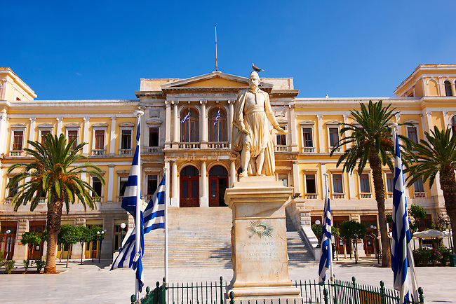 The Neo Classic City Hall of Ermoupolis, Miaoulis Square, Syros [ ????? ] , Greek Cyclades Islands